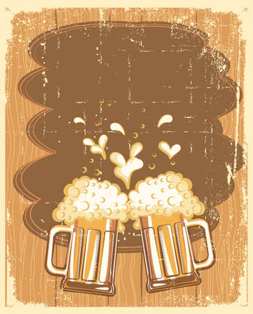 Glasses of Beer background. grunge Illustration for text Vector