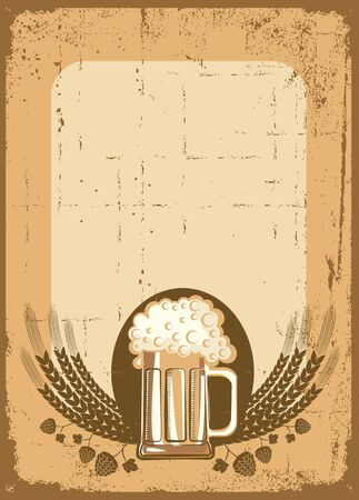 Beer background. grunge Illustration for text Vector
