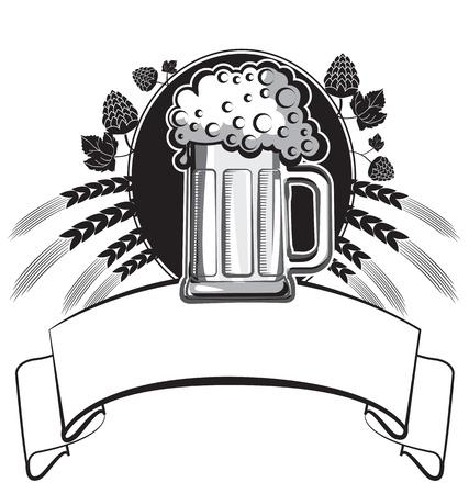 Glass of beer. black graphic symbol of Illustration for design Stock Vector - 9533123