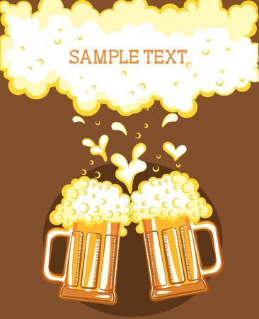 Glasses of beer. color symbol of Illustration for design Vector