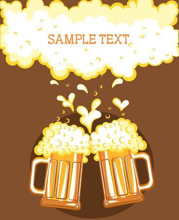 local festivals: Glasses of beer. color symbol of Illustration for design