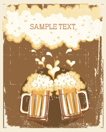 Glasses of Beer background. grunge Illustration for text Stock Vector - 9533138