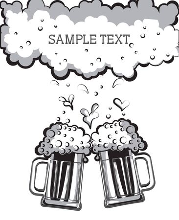 2 objects: Glasses of beer. black graphic symbol of Illustration for design Illustration