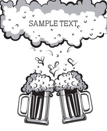 Verres de bière. symbole graphique de noir Illustration pour la conception