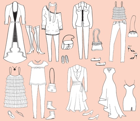 fashion clothes and accessories for weman for design Vector