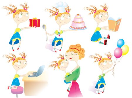 Babbys life.Cartoon girl in different situations. Vector