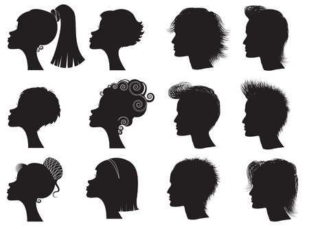 long nose: Hairstyles - vector black silhouettes of men and women