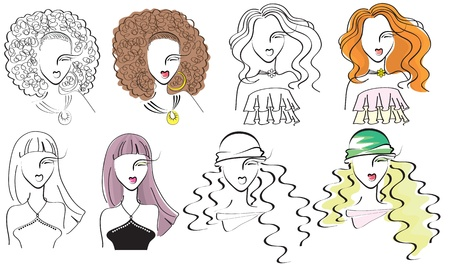 young fashion women .Vector portraits Vector