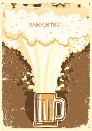 Arrière-plan de bière.Grunge Vector Illustration pour le texte Vecteurs