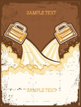 Glasses of beer. Beer background.grunge Illustration for text Vector