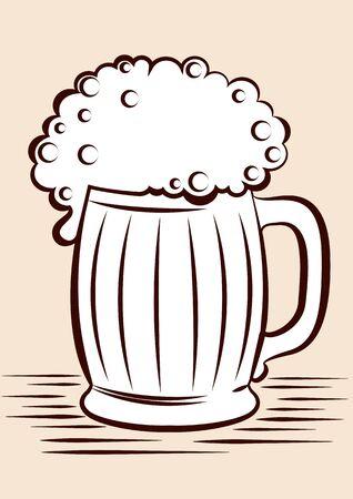 Beer.black graphic Illustration of glass on white Stock Vector - 9585334