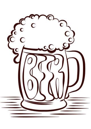 Beer.black graphic Illustration of glass on white Stock Vector - 9585336