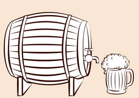 Beer keg and glass.for design Vector