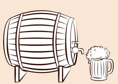 keg: Beer keg and glass.for design Illustration