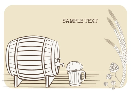 Beer keg and glass.background for text Stock Vector - 9585337