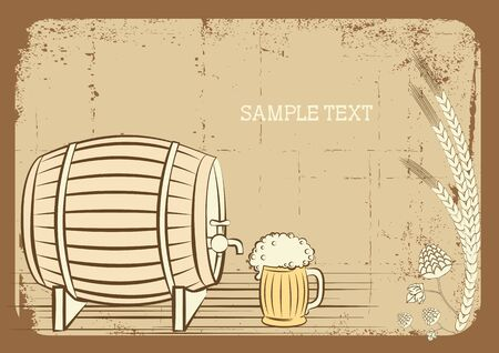 tankard: Beer keg and glass.grunge background for text Illustration