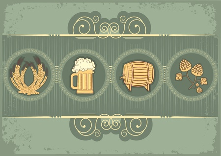 Beer background.grunge postrard for text Stock Vector - 9585347