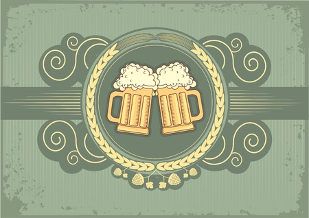 Beer background.grunge postrard for text Stock Vector - 9585342