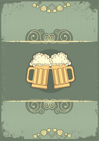 Beer background.grunge postrard for text Vector