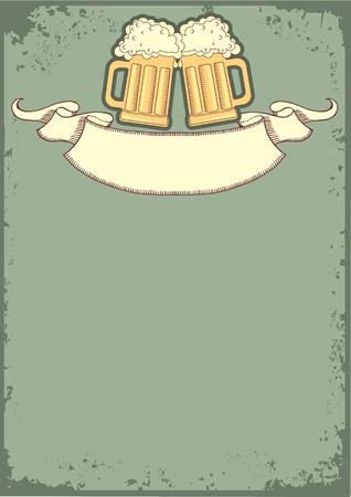 Bière background.grunge postrard pour le texte Vecteurs