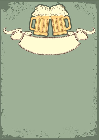 retro glasses:  Beer background.grunge postrard for text