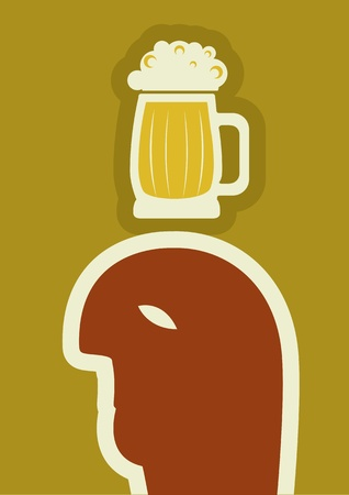 fatness: drunk man drinking beer .Human symbol of alcohol Illustration