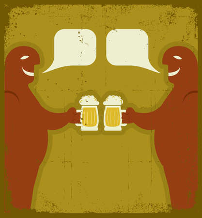 gaiety: Two men with glasses of beer who toast.grunge poster
