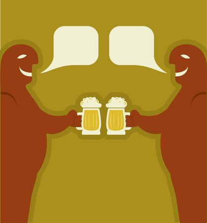 Two men with glasses of beer who toast.poster Stock Vector - 9585380