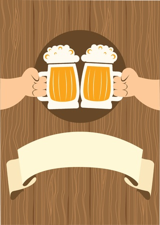 pint glass: Two men with glasses of beer who toast.grunge poster