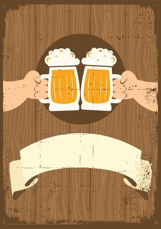 hombre tomando cerveza: Dos hombres con vasos de cerveza que cartel toast.grunge