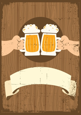 beer drinking: Two men with glasses of beer who toast.grunge poster