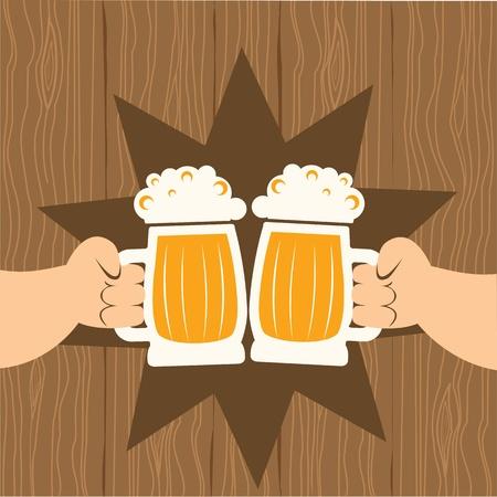 hombre tomando cerveza: Dos hombres con vasos de cerveza que toast.poster