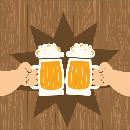 Two men with glasses of beer who toast.poster Vector