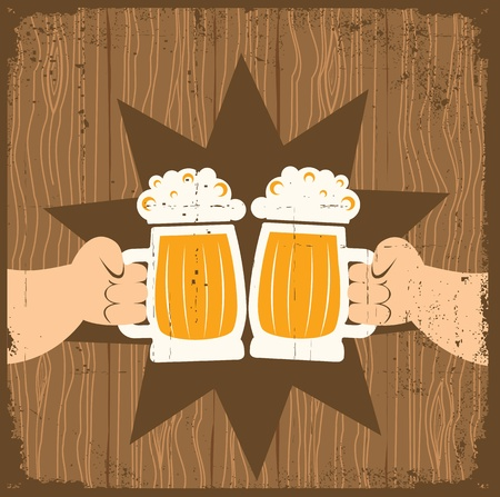 cheers: Two men with glasses of beer who toast.grunge poster