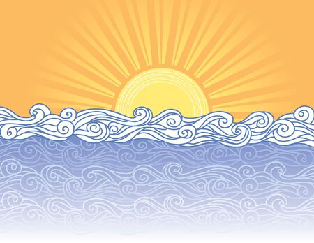 waves vector: Abstract sea waves. Vector illustration of sea landscape