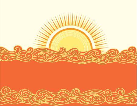 tidal wave: Abstract sea waves. Vector illustration of sea landscape