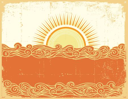 tidal wave: Abstract sea waves. Vector illustration of sea landscape.Grunge  Illustration