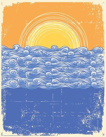 tidal: Abstract sea waves. Vector illustration of sea landscape.Grunge image