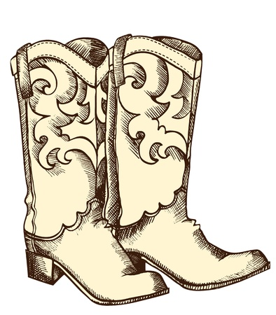 cowboy boots: Cowboy boots .Vector graphic image of shoes for cowboy life