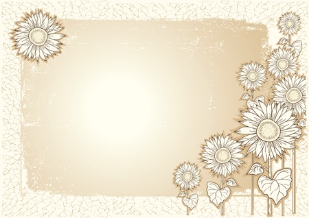 Sunflower .Vector vintage postcard with grunge elements Stock Vector - 9667274