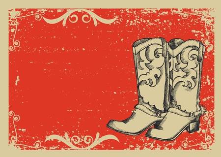 vaquero: Botas de Cowboy.Imagen de gr�fico vectorial con fondo grunge para el texto Vectores