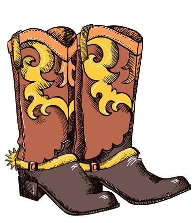 Stivali da cowboy.Immagine vettoriale a colori di scarpe per la vita di cowboy