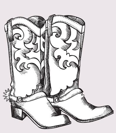 botas vaqueras: Botas de Cowboy.Imagen gr�fica de vector de zapatos para la vida de vaquero