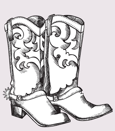 boots: Cowboy boots .Vector graphic image of shoes for cowboy life