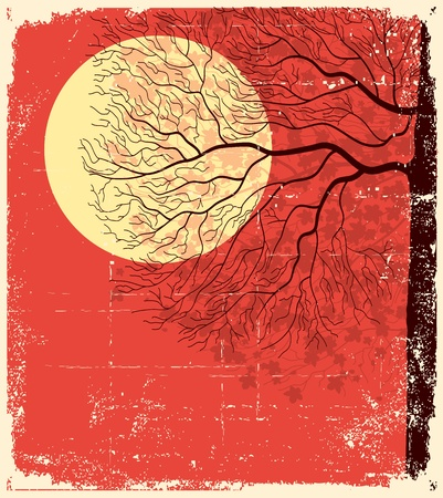 light and dark:  Tree under evening  sky and moon lighting. illustration on old paper background  Illustration