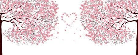 Abbildung von Sakura Bäume Liebe Hintergrund Vektorgrafik