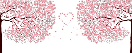 sakura flowers: Illustration of sakura trees love background