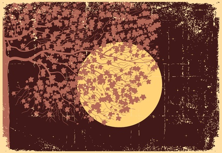 Tree in moon night with bright stars. Vector
