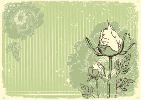 Vintage flowers postcard for text.Vector floral background with grunge elements Stock Vector - 9800721