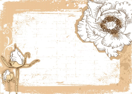 Vintage flowers postcard for text.Vector floral background with grunge elements Stock Vector - 9800725